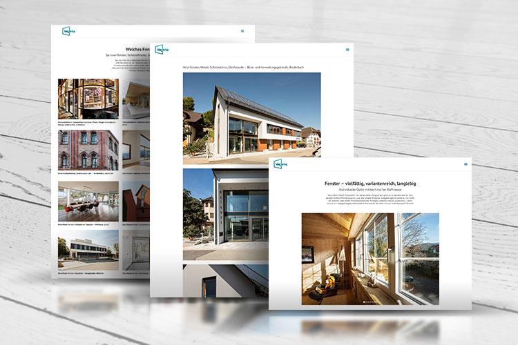 drei screenshots website wehrle fensterbau